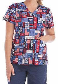 Med Couture Miss America V-neck Print Scrub Tops