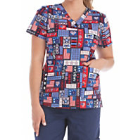 Med Couture Miss America V-neck Print Tops