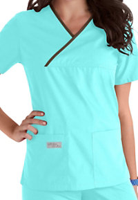 Urbane Essentials Double Pocket Crossover Scrub Tops