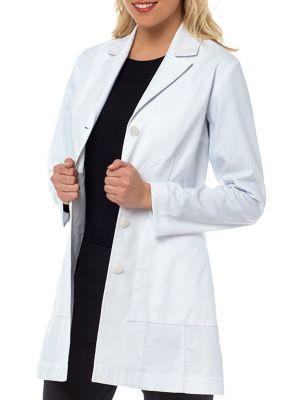 Med Couture Vivien Herringbone Cotton Lab Coat