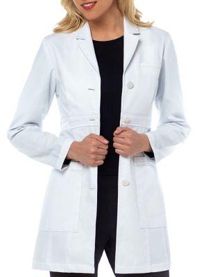 Med Couture Sophia Herringbone Cotton Lab Coat