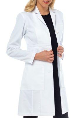 Med Couture Olivia Herringbone Cotton Lab Coat