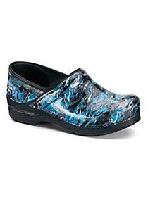 Blue Swirl Patent Nursing Clogs