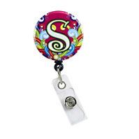 Initial This Pink Swirl Badge Holder