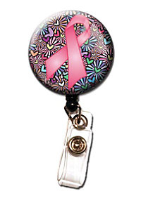 Initial This Pink Ribbon Retractable Badge Holders