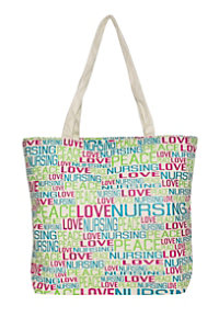 McCoy Medical Peace Love Nursing Canvas Totes
