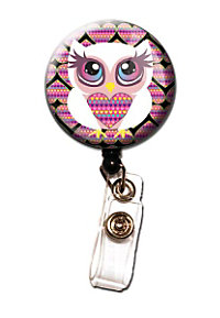 Initial This Heart Owl Retractable Badge Holders
