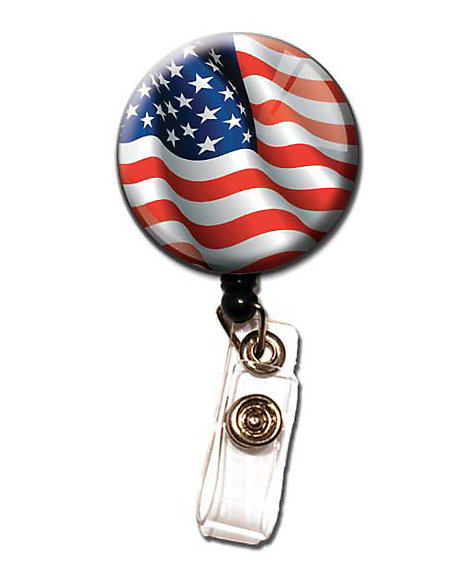 Patriotic Retractable Badge Holder