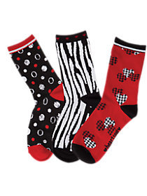 Heart Break 3 Pack Printed Crew Socks