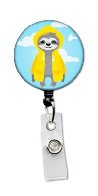 Rainy Day Sloth Retractable Badge Holder