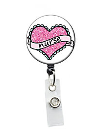 Nurse Sparkle Heart Badge Holder