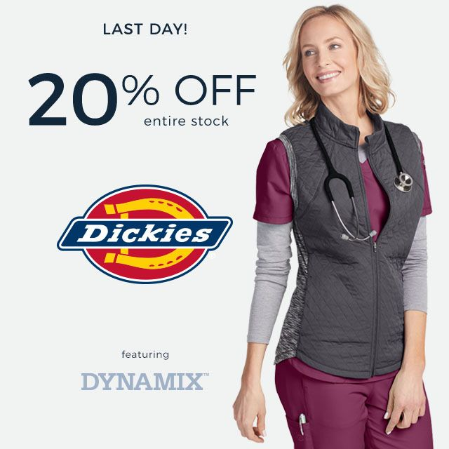 last day for 20 percent off entire stock of Dickies