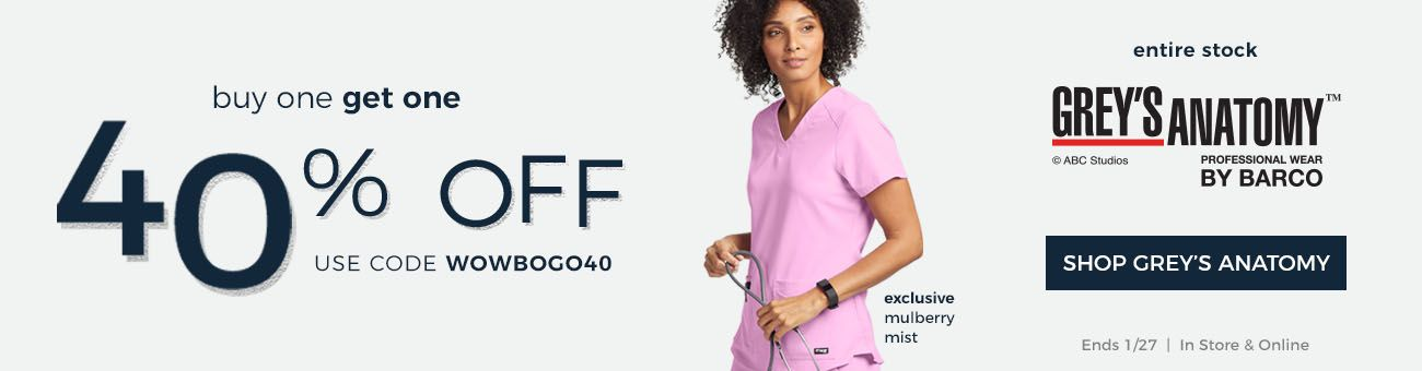In store and online, buy one Grey's Anatomy, get one 40% off with code W O W B O G O 4 0! Ends January 27th.