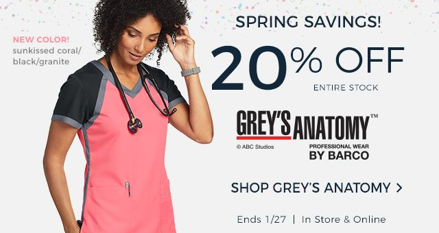 Spring savings! 20% off entire stock of Grey's Anatomy. Ends January 27th.
