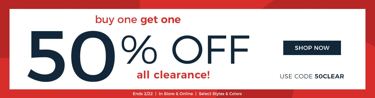 Buy one clearance item, get one 50% off with code 5 0 C L E A R! Ends February 22nd.