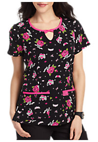 f48e56b2044 See Details item #B100LK · Betsey Johnson Love And Kisses Print Scrub Top