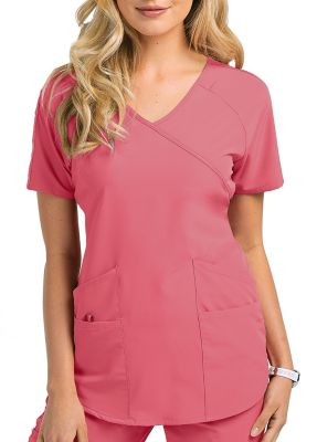 Barco One Wellness 4 Pocket Surplice Scrub Top