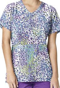 Carhartt Cross-Flex Cobblestone Violet Print Scrub Tops
