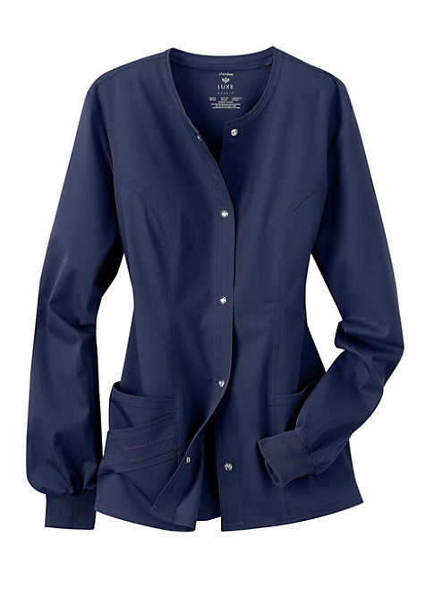 cherokee luxe snap front warm up scrub jacket