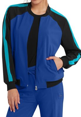 Infinity By Cherokee Zip Front Color Block Scrub Jackets