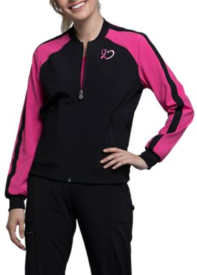 Infinity By Cherokee Breast Cancer Awareness Embroidered Scrub Jackets With Certainty