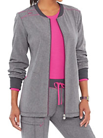 Zip Front Contrast Trimmed Jacket with Certainty