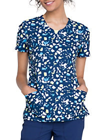 Brush Stroke Navy Print Top