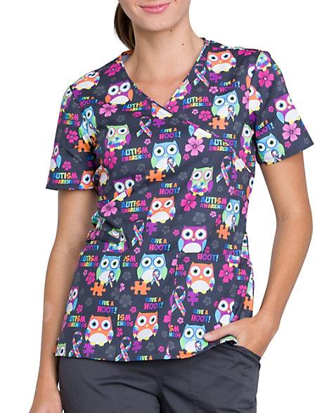 fce562369e6 Cherokee Autism Awareness Owls Mock Wrap Print Scrub Top | Scrubs & Beyond