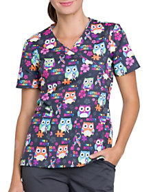 Autism Awareness Owls Print Top