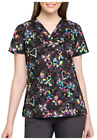 5a5e3a487fd See Details item #CK616OP · Cherokee One Piece At A Time Autism Awareness  V-neck Print Scrub Tops