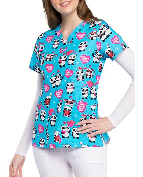 b03fc3fb4e8 Cherokee Panda Lovin V-neck Print Scrub Tops | Scrubs & Beyond