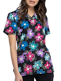Digital Daisy V-Neck Print Top