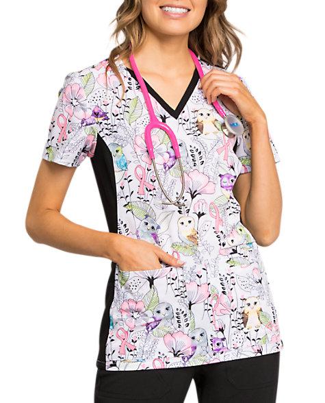 d69b1375 Cherokee Iflex Own Be In The Garden Breast Cancer Awareness V-neck Print  Scrub Tops   Scrubs & Beyond