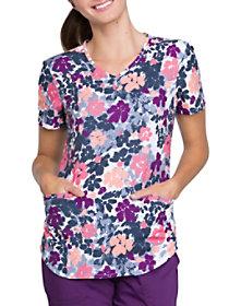 Funky Floral Camo V-Neck Print Top