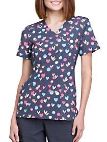 Doodle Heart Mock Wrap Print Top