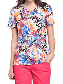 Flower Punch V-Neck Print Top