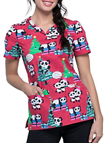 Beary Merry Pandas V-Neck Print Top