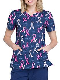 Rosy Ribbons Print V-Neck Top