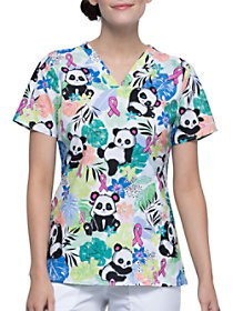 Garden Panda-monium V-Neck Print Top