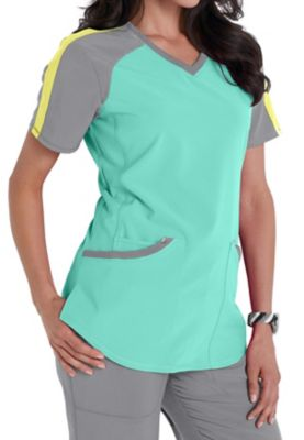Infinity By Cherokee Color Block V-neck Scrub Tops With Certainty