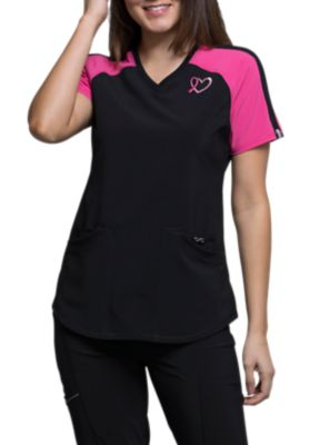 Infinity By Cherokee Breast Cancer Awareness Embroidered V-neck Scrub Tops With Certainty