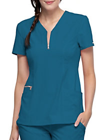 Notch Neck Top with Zip Front