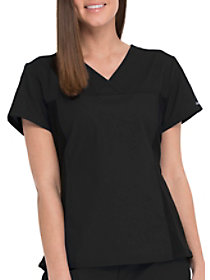 V-Neck Top with Knit Panels