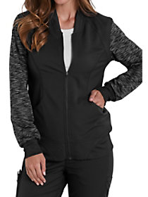Knit Melange Tonal Sleeve Zip Front Jacket