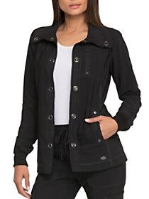 Solid Tonal Twist Snap Front Jacket