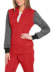 Knit Melange Contrast Sleeve Zip Front Jacket