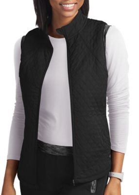 Contrast Knit Quilted Vest