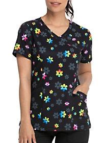 Rainbow Daisy Mock Wrap Print Top