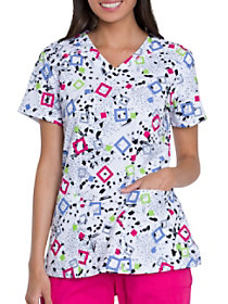 Squares and Spots Print Top