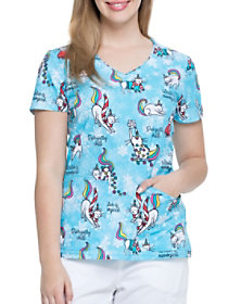 Cool Caticorn V-Neck Print Top